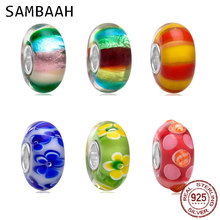 Sambaah Handmade European Colorful Stripe Murano Glass Charm Beads with 925 Silver Core fit Pandora Style Women Spring Bracelet