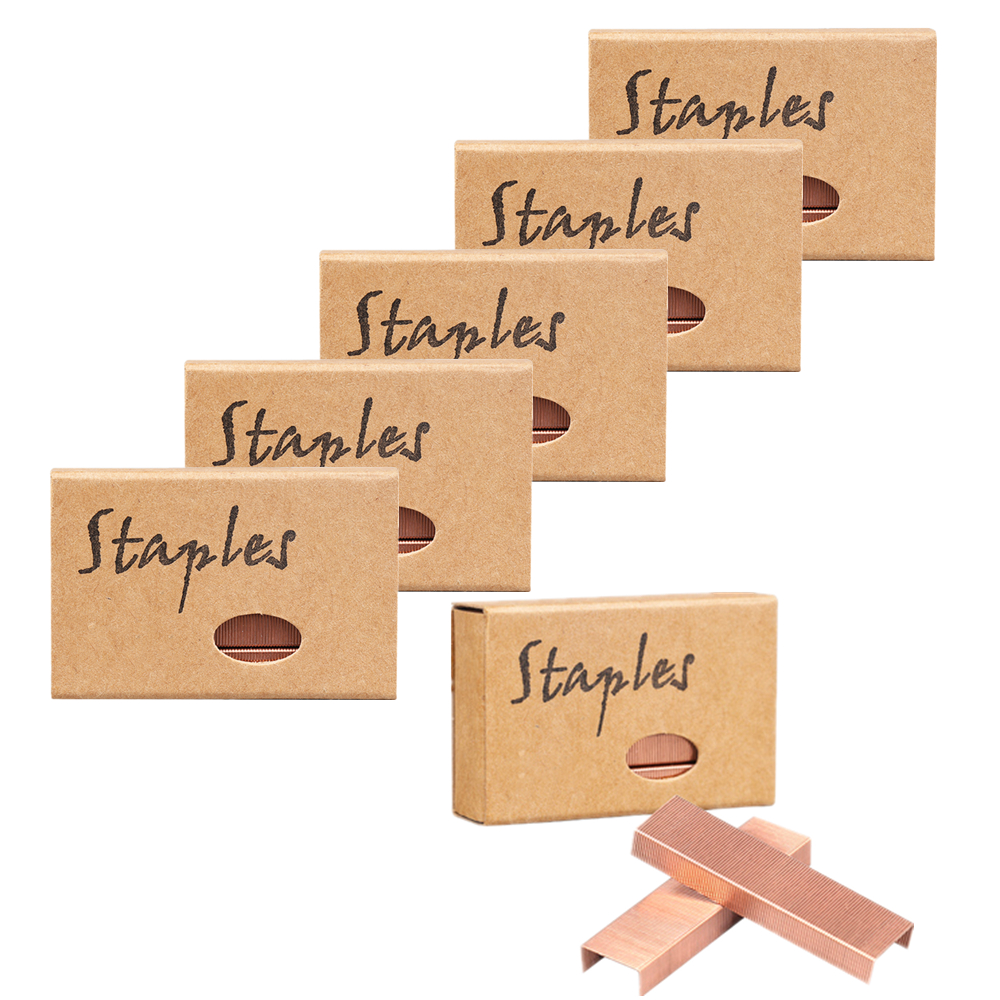 6 Boxes Rose Gold Staples Standard Stapler Refill 26/6 Size 5700 Staples For Office School Supplies