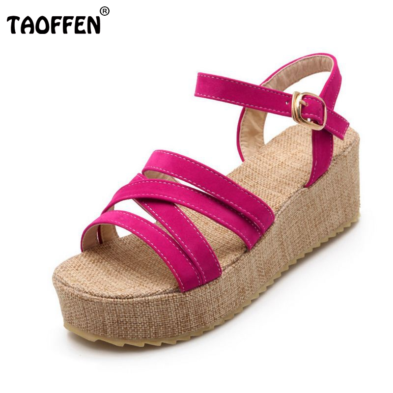 TAOFFEN Size 34-43 Women Summer Wedges Sandals Ankle Strap Platform Trifle Sandals Beach Vacation Shoes Woman Sexy Footwear plus size 34 43 new summer shoes woman open toe women ankle strap wedges sandals casual low heel sandals women sandals