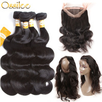 360 Lace Frontal with Bundle Brazilian Body Wave Bundles with Frontal Pre Plucked Ossilee Remy Human Hair Bundles with Closure