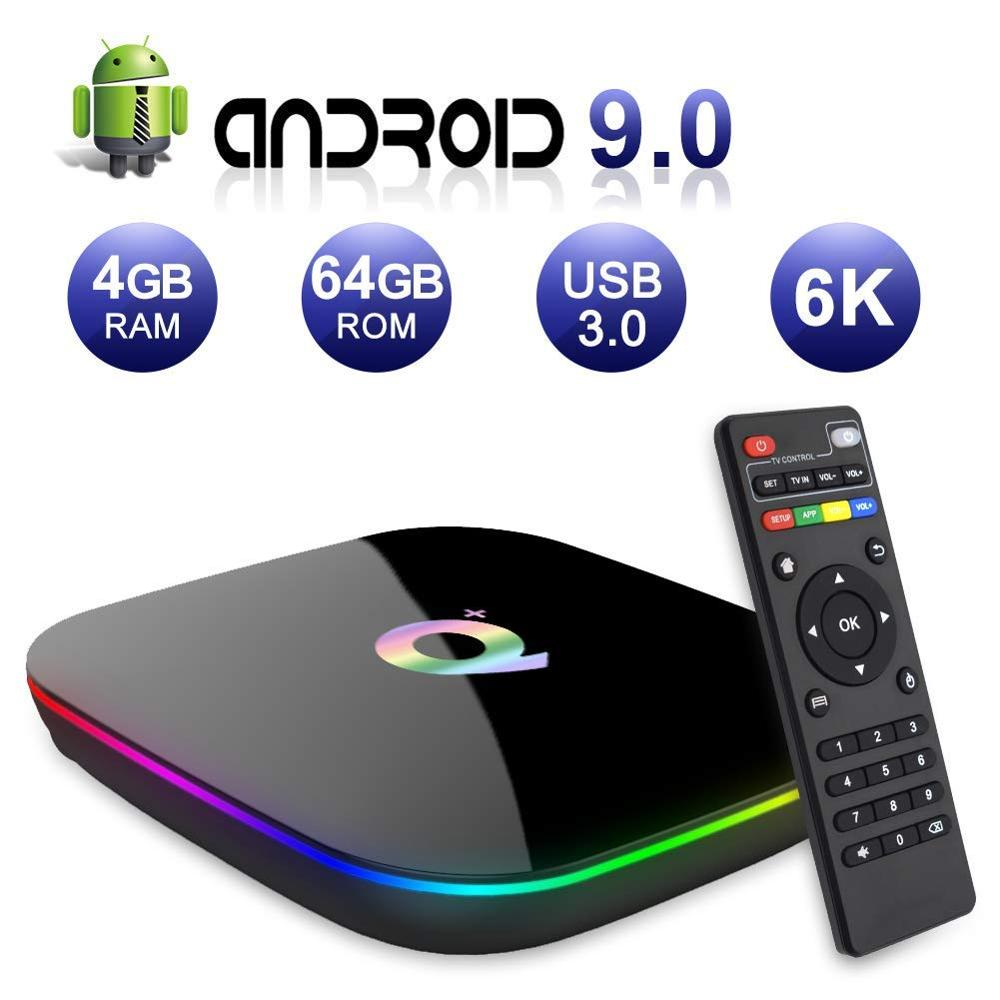 6K Android 9.0 TV Box Q Plus 4GB RAM 32 GB/64 GB ROM 2.4GHz WiFi Box IPTV décodeur maison lecteur multimédia prise en charge des films 3D Ultra HD