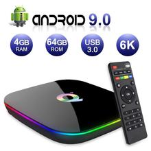 6K Android 9.0 TV Box Q Plus 4GB RAM 32GB/64GB ROM 2.4GHz WiFi IPTV Set Top Home Media Player Support 3D Ultra HD Movies