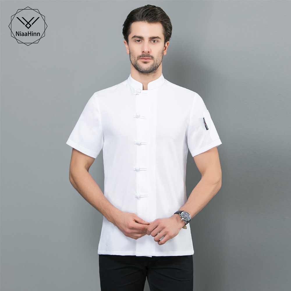 New M-4XL Chinese-style Food Service Chef Jacket Restaurant Uniform Black And White Short Sleeved Hotel Kitchen Work Clothes Men