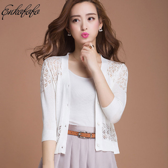 2018 Thin Cardigan Sweater Women Spring Summer Silk Cotton Knit Loose Three  Quarter Sleeve white Lace 18d9ea18d