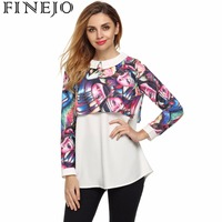 Finejo Women Floral Blouse Shirt Sweet Doll Neck Loose Print Patchwork Long Sleeve Tops Blouse Ladies
