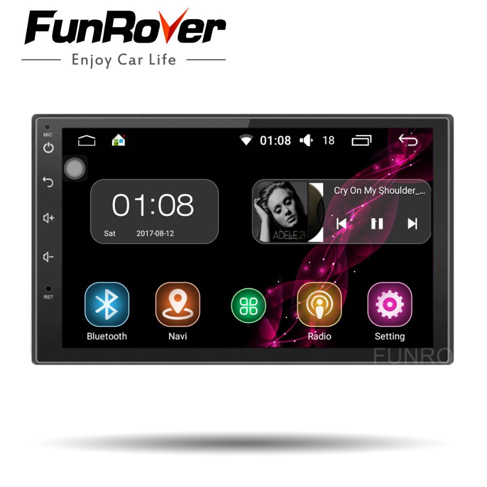 FUNROVER Quad Core 2 din 7 Inch Universal Car dvd Radio player android 8.0 Car Radio Stereo Player GPS Navigation audio stereo все цены
