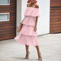 Ruffle chiffon bodycon blue dress Women backless short beach pink sundress Elegant sexy party summer long casual dress