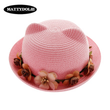 MATTYDOLIE Straw Hat Summer Woman Cute Cat Ears Bow Flower Beach Parent-child Sun Collapsible Kid Girl