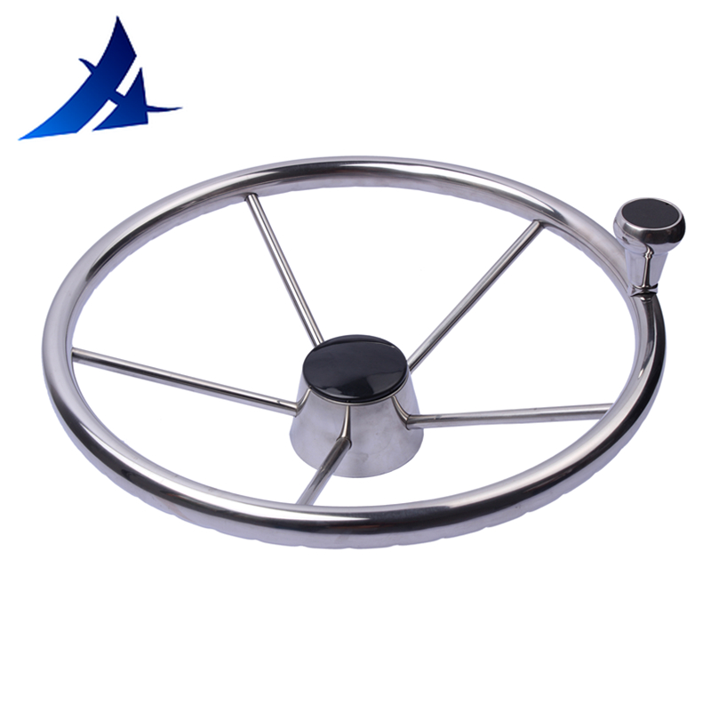 13-1/2'' Boat Steering Wheel Stainless 5 Spoke With Knob Heavy Duty Marine Boat Accessories Marine
