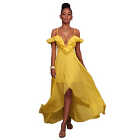 908a6e30ee857d Liva Girl Summer Chiffon Boho Midi Dress 2018 Elegant Women Yellow Sun Sexy  Sling Dresses Party