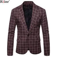 Riinr Brand Mens Fashion Blazer casual Slim Fit suit jacket Male blazers Mens coat Wedding dress Terno Masculino