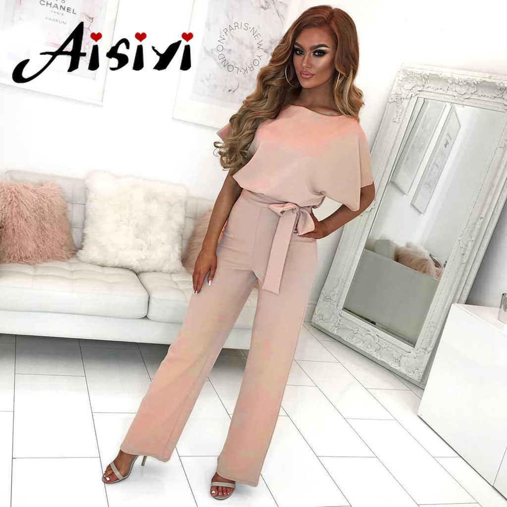 Aisiyi Jumpsuits for Women 2019 Summer Overalls Women Yellow Jumpsuit Women Long Formal Jumpsuit Casual Female Jumpsuit