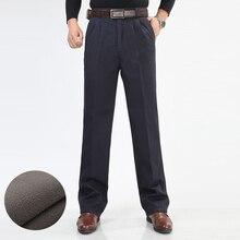 Inverno dos homens de lã engrossar calças moda masculina quente calças casuais lavar roupa dupla plissado algodão solto calças retas tamanho 46