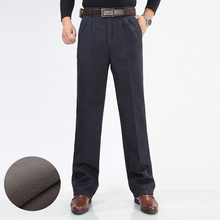 Winter Men Fleece Thicken Pants Fashion Male Warm Casual Trousers Wash Wear Double Pleater Cotton Loose Straight Pants Size 46