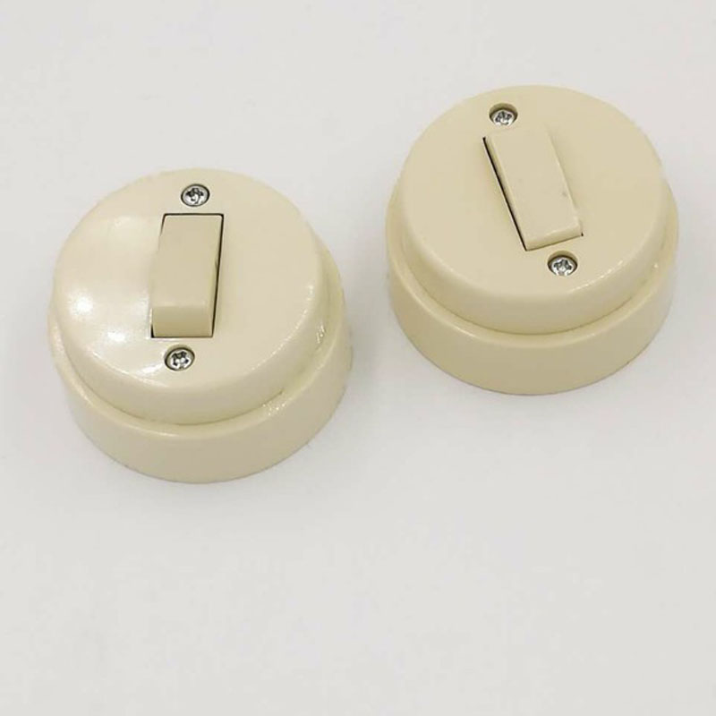 Retro Push Button Switch,Bedside Control Single Open Switch, Round Old Flat Switch Plastic push button switch xb4 series zb4bg2 zb4 bg2