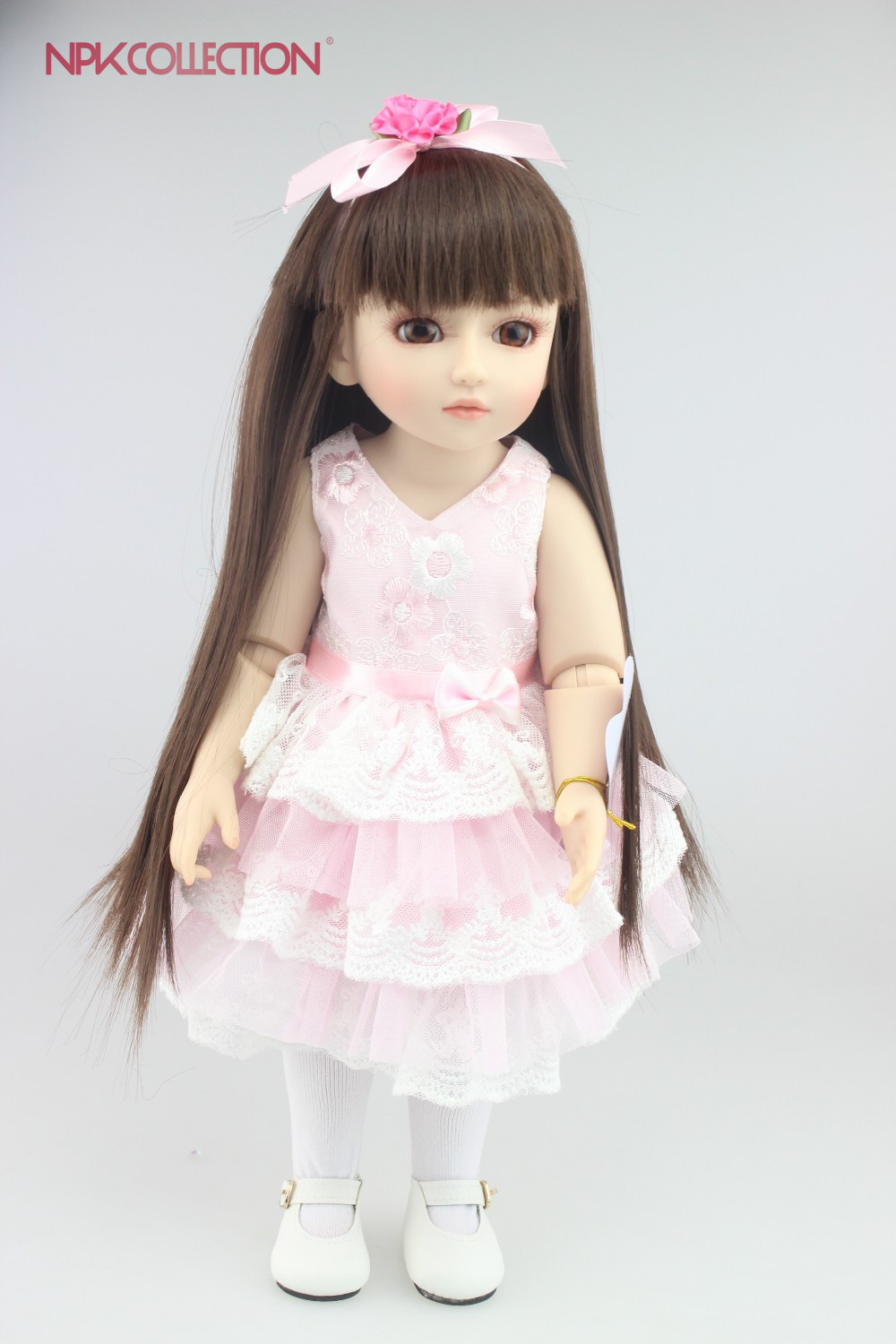 NPKCOLLECTION NEW Design Beautiful SD/BJD doll with cute pink skirt handmade doll high quailty popular gift for your children handsome grey woolen coat belt for bjd 1 3 sd10 sd13 sd17 uncle ssdf sd luts dod dz as doll clothes cmb107