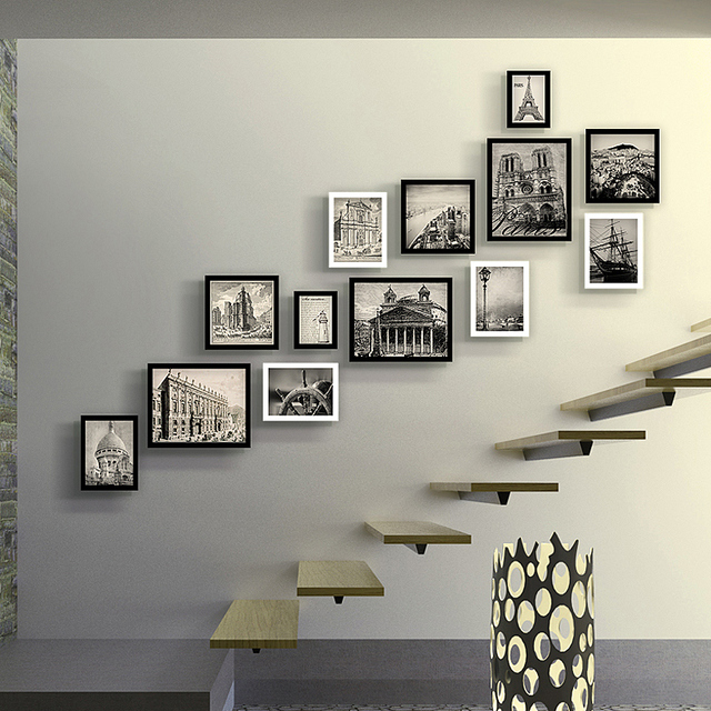 Photo Frame Luxury Staircase Photo Wall Creative Picture Frame For Home  Wood Photo Frame Porta Retrato