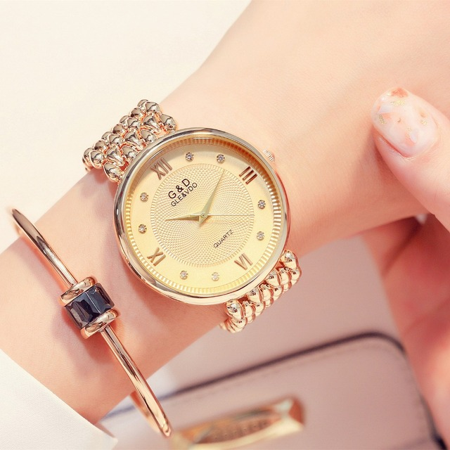 G&D Womens Watches Luxury Ladies Bracelet Watch Gold Fashion Women's Quartz Wris