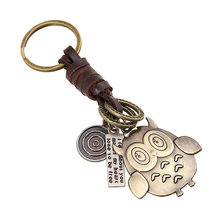 alloy owl model Genuine Leather Men Women keychain jewelry car key chain ring holder bag pendant(China)