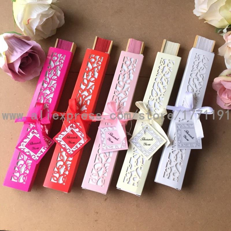 Envío Gratis 50 set/lote abanico de papel plegable de bambú para regalo de boda con caja de regalo de papel de Lujo + tarjeta de agradecimiento + cinta-in Obsequios para fiestas from Hogar y Mascotas    1