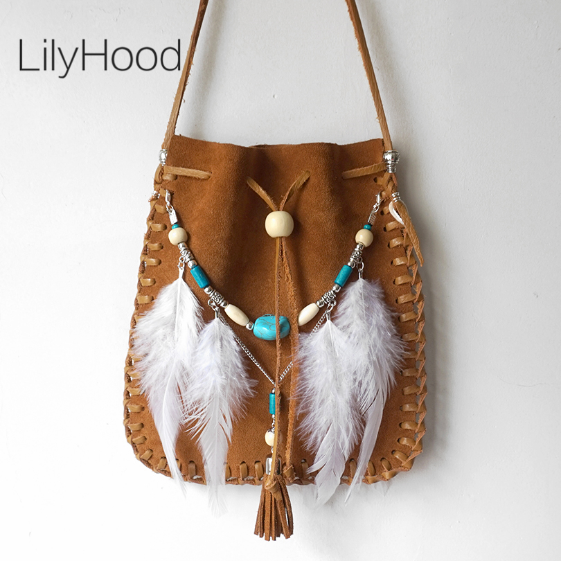 ФОТО 2017 Real Leather Small Bag Handmade Brown Beaded Feathers Hippie Gypsy Indian Tribal Bohemian Boho Chic Feminine Small Pouch
