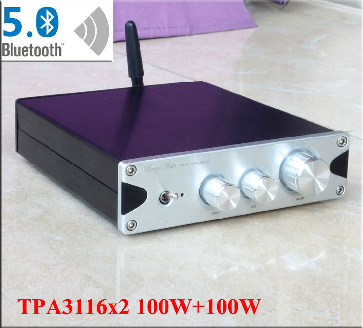 100W+100W TPA3116 Bluetooth 5.0 CSR8765 amplifier HiFi 2.0 Digital Audio Amplifier without power supply