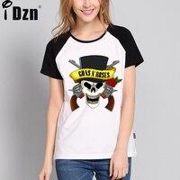 Guns N Roses Rock Band Moda T Shirt Kadın Kanlı vampir Dudaklar Raglan Kollu Patchwork Frauen Yaz Tişörtleri Artı Boyutu S-XXL