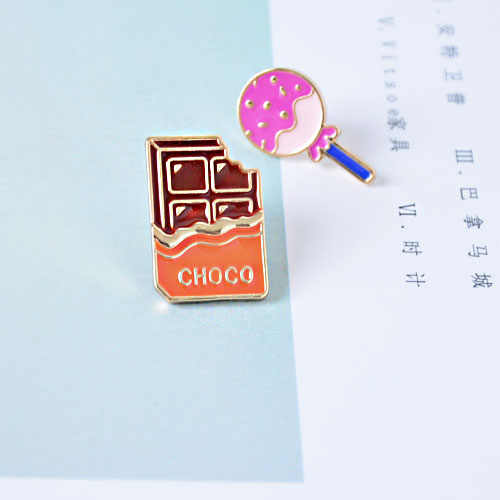 Tas kualitas tinggi shirts jean aksesoris logam enamel Coklat manis lollipop permen bros pin lencana