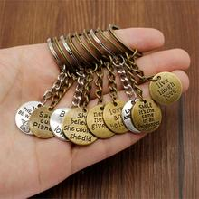 New keychain Car Metal Keyring Text Round Tag Key Accessories DIY Jewelry Keychain Ring Holder Souvenir For Gift Girlfriend