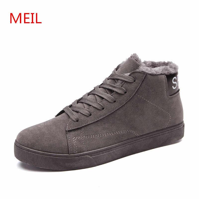 Зимние ботильоны; Мужская зимняя обувь из флока; мужские кроссовки; мужская теплая Повседневная рабочая обувь; мужские ботинки; Повседневная обувь; Zapatos De Hombre