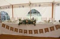 Nuovo arrivo 3.7 M JUST MARRIED misero dell'annata dell'assia rustica tela wedding bunting banner/ghirlanda di Nozze