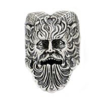 USA Located 925 Sterling Silver Great God Pan Ring Goats Demon Ring Mens Biker Punk TA88 4PX