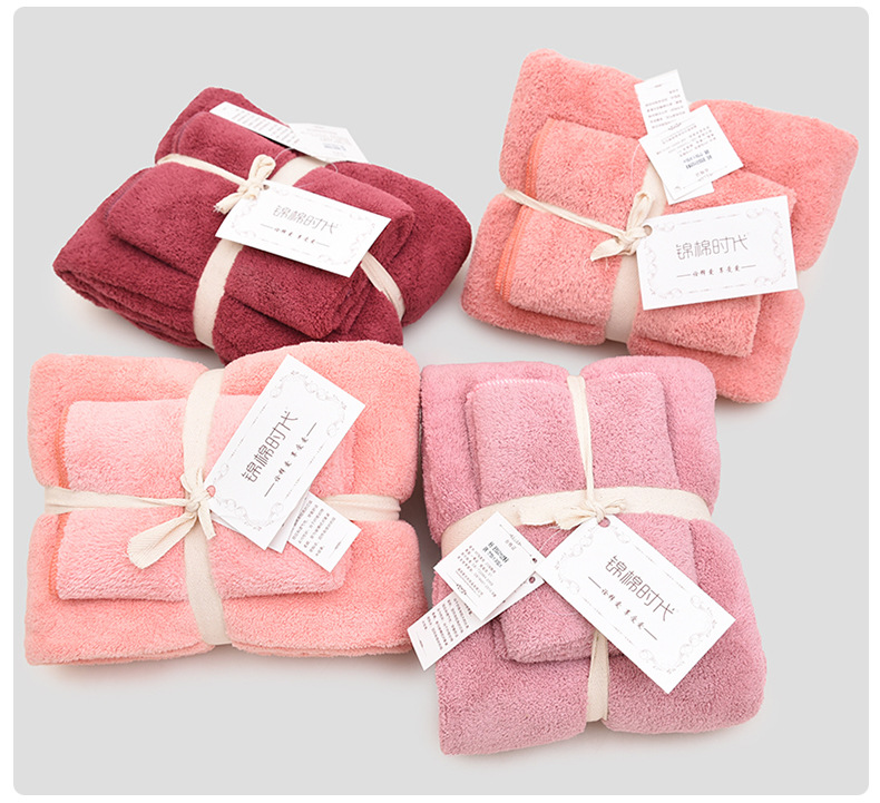 Image 2 - 12 Colors 2pcs Towel Microfiber Fabric Towel Set Plush Bath Face Hand Towel Quick Dry Towels for Adult kids bath Super Absorbent-in Towel Sets from Home & Garden