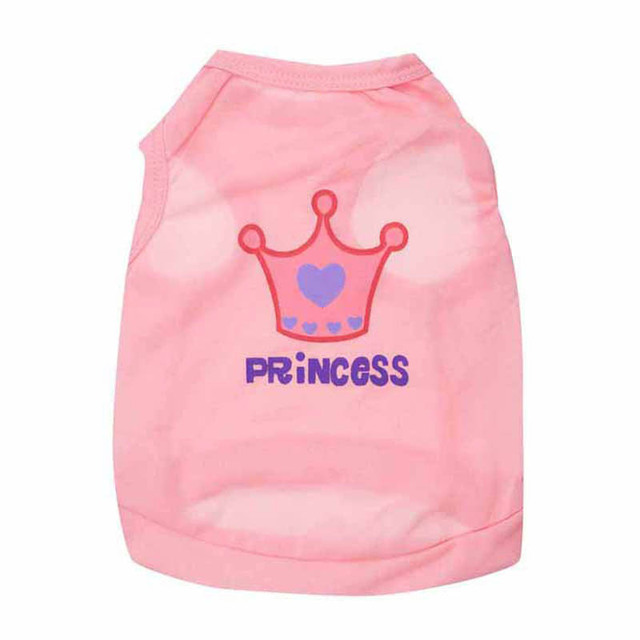 7522b98d246e Dog Clothes Crown Prince Princess Vest T-Shirt Tank Top for Dogs Puppy Thin  Cool Summer Dress Small Dogs Apparel