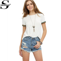 Sheinside 2016 Ladies Beige Short Sleeve Embroidered Tees Summer New Style Round Neck Loose Tops Casual T-shirt