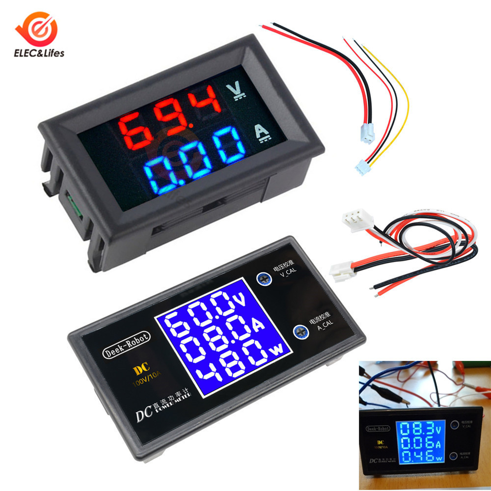 Mini Digital Voltmeter Ammeter DC 100V 10A Volt Meter Voltage Current Wattage Amp Volt Panel Power Meter Gauge Dual LED Display