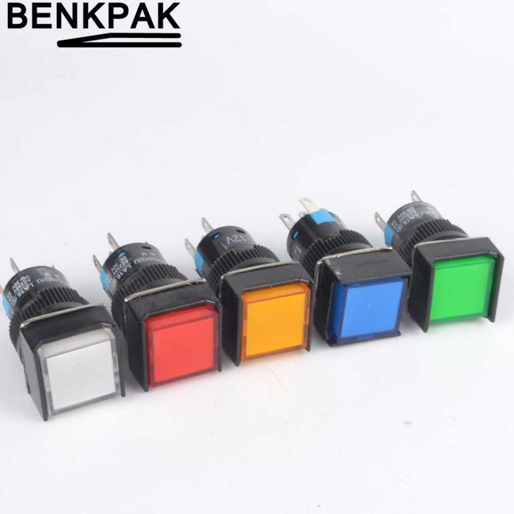 5V 12V 24V 220V momentary  LED Illuminuted Maintained Self-locking Push Button Switches 16MM Latching Push Button