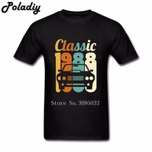 2018 Birthday Gift Retro T Shirts Men Black Cotton Tees Printed Vintage 1988 30th Boyfriends