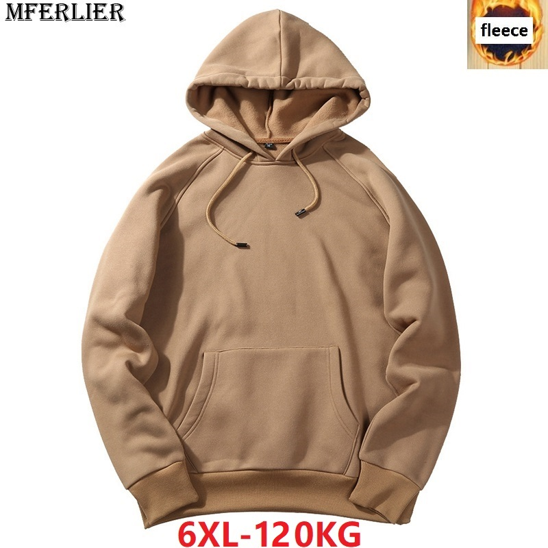 MFERLIER Men Sweatshirts Fleece Warm 5XL 6XL Large Size Big Sweatshirts Hooded Hoodies Autumn Blue Warm Pullover Coat Gray Black