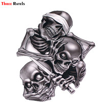 Three Ratels TZ-1330#17.3*15cm see nothing hear nothing say nothing Hear Speak See No Evil Skull car stickers funny car sticker(China)