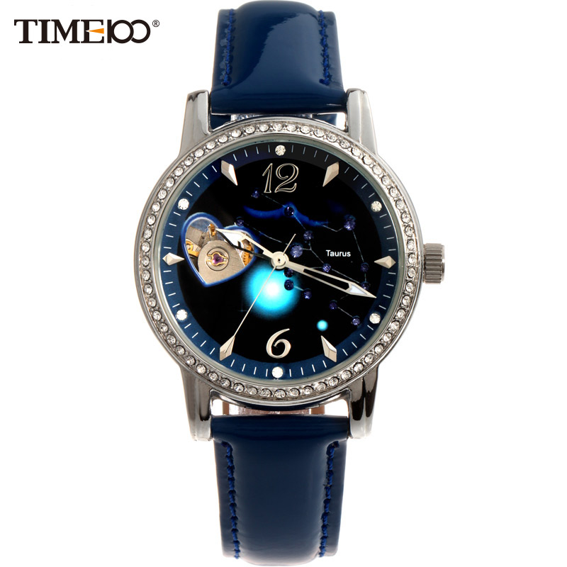 TIME100 Women's 12 Constellation Taurus Automatic Self-wind Mechanical Watch Diamond Ladies Leather Band Wrist Watch#W80050L.02A  цена