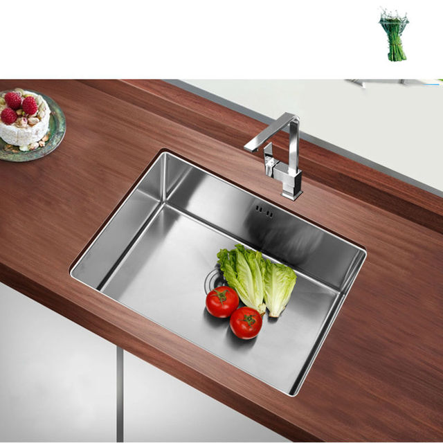 kitchen sink undermount Handmade brushed seamless 304 stainless steel single bowl Drawing drainer welding sinks big wash dishes