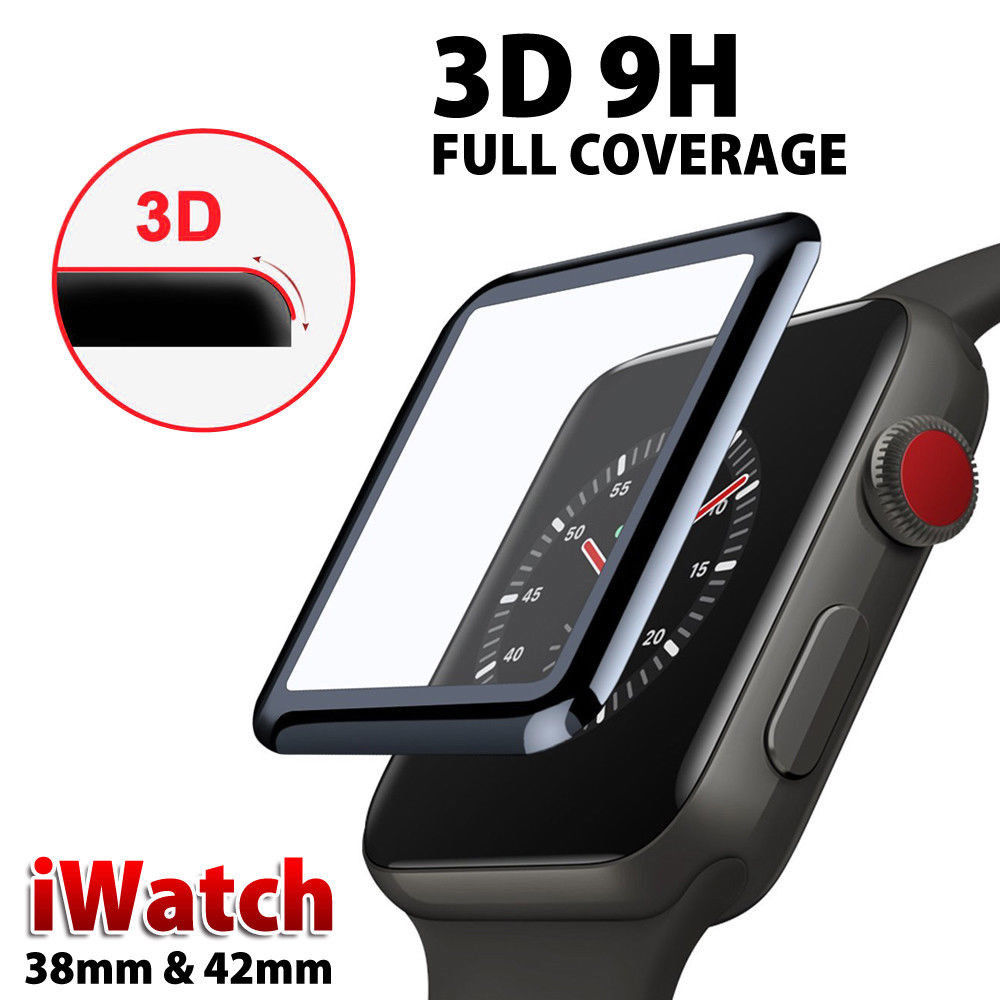 3D Curved Edge HD Tempered Glass for Apple Watch Series 3 2 1 38MM 42MM Screen P