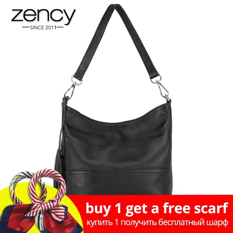 Zency 100% натуральная кожа модная женская сумка на плечо с кисточкой Праздничная сумка мессенджер через плечо Сумочка в классическом стиле сум...