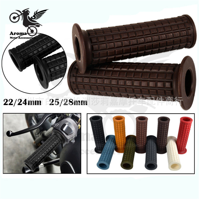 Soft Rubber Retro Scooter Bar Grips Classic Motorbike Handle Bar Universal Vintage Moto Grips Cafe Racer Motorcycle Handlebar