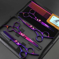 6inch Professional Hair Cutting Scissor Hairdressing Grooming Scissors Cutting Thinning Curved Scissors Kit Barber Salon Tools