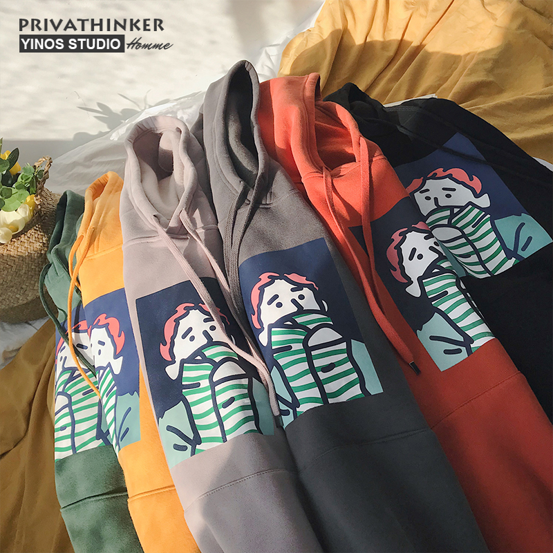 Privathinker Dicken Fleece Kapuzenpullover Männer Frauen Winter Warme Sweatshirts Mantel Lustige Drucken Baumwolle Hoodie Sweatshirt Korean Harajuku
