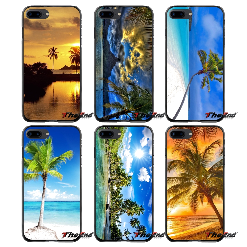 Accessories Phone Cases Covers For Apple iPhone 4 4S 5 5S 5C SE 6 6S 7 8 Plus X iPod Touch 4 5 6 Palm Trees Beach