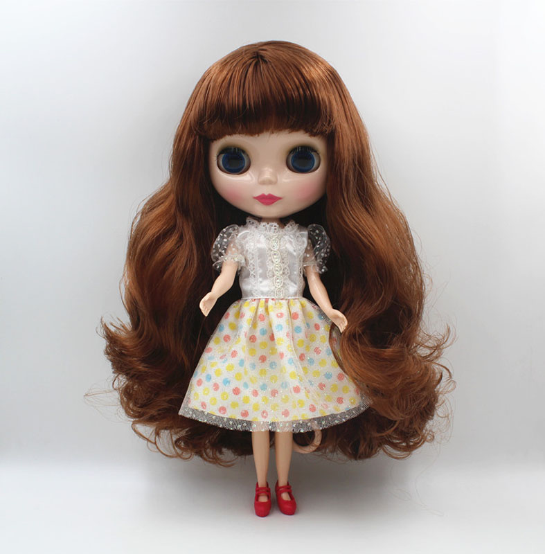 Free Shipping big discount RBL-459 DIY Nude Blyth doll birthday gift for girl 4colour big eye doll with beautiful Hair cute toy free shipping nude blyth doll black4 hair big eye doll for girl s gift pjb004
