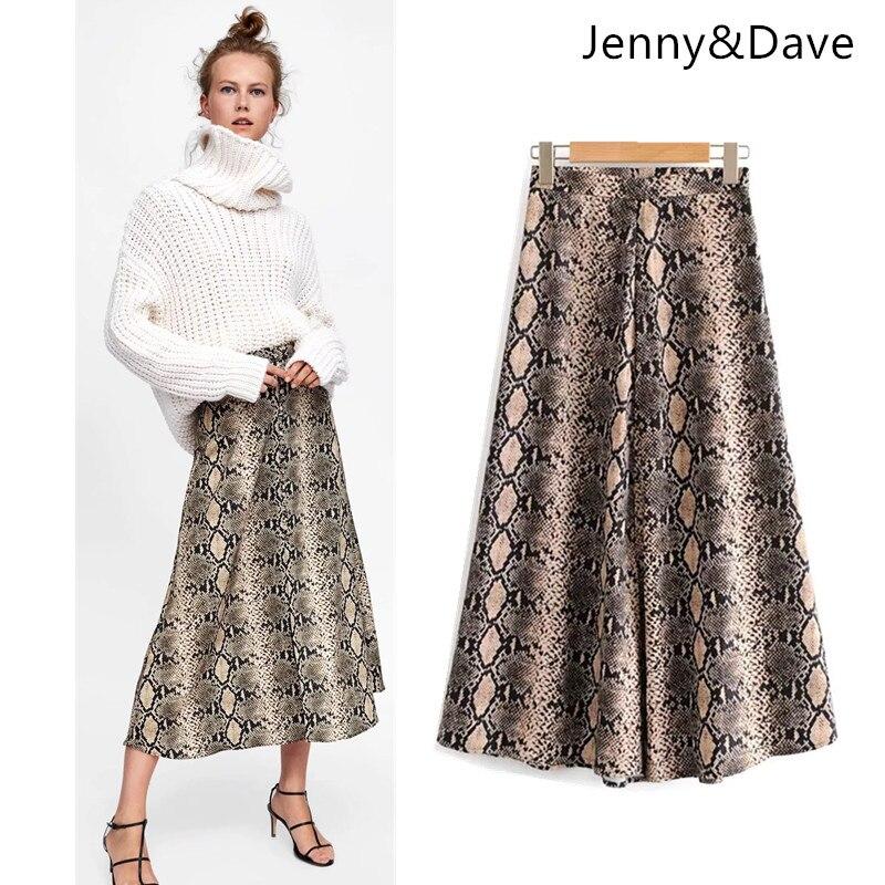 Jenny et Dave 2018 BTS jupe femmes angleterre style zipper fly impression serpent peau naturel droite midi jupes femmes plus taille 0906